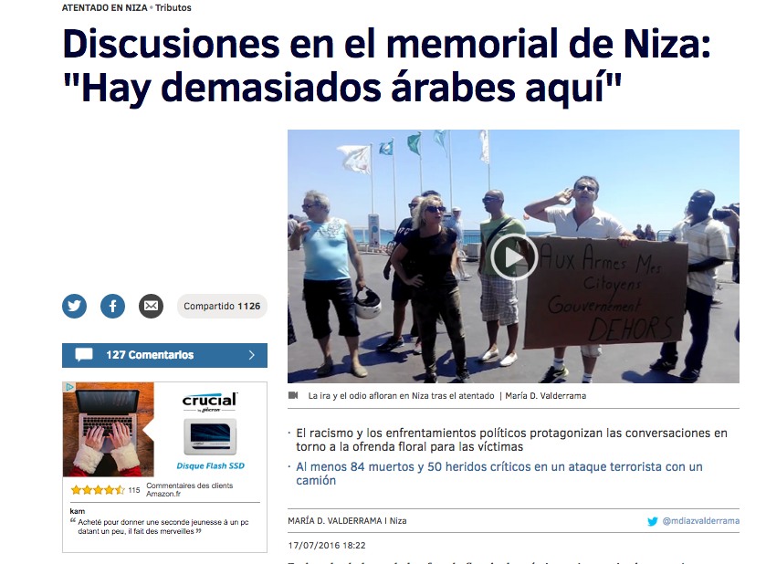 """Discusiones en el memorial de Niza: """"Hay demasiados árabesaquí"""""""